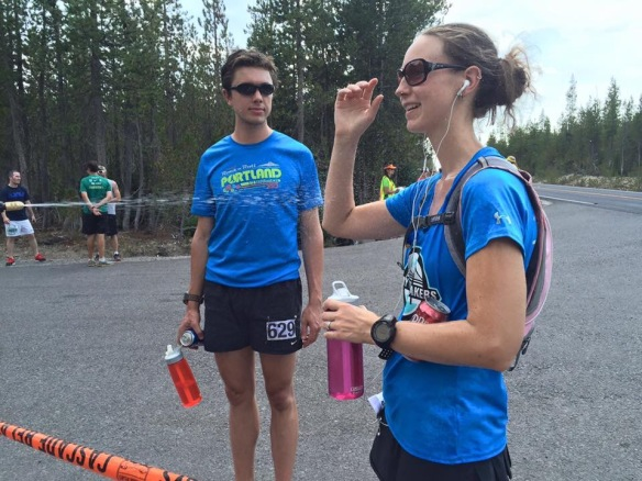 After leg 5 - soaked and looking forward to this Dr. Pepper!